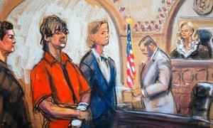 Artist's impression of Dzhokhar Tsarnaev
