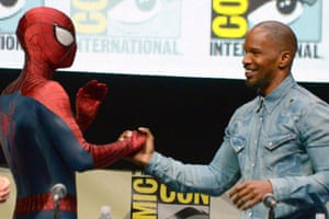 Jamie Foxx and Spiderman at Comic-Con 2013