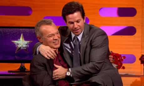 Mark Wahlberg acting up during his appearance on the Graham Norton show
