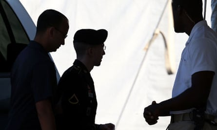 Bradley Manning arrives at a military court facility for the sentencing phase of his trial