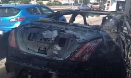 Dick van Dyke's burnt out Jaguar sports car