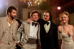 Bradley Cooper, Jeremy Renner, Christian Bale and Jennifer Lawrence in American Hustle