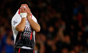 A crying Luis Suarez just after the final whistle during the Crystal Palace versus Liverpool
