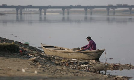 Rubbish on the side of the river Ganges. The number of polluted rivers in India has more than doubled over the past five years.
