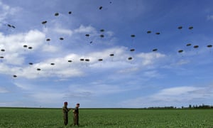 Mass parachute jump in Ranville, Normandy, to mark D-Day anniversary