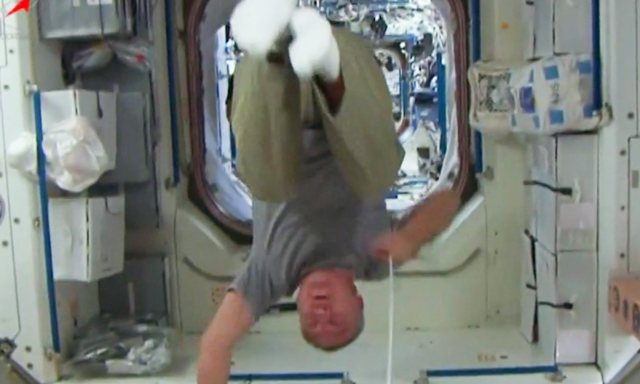 Astronauts perform tricks on board the International Space Station – video