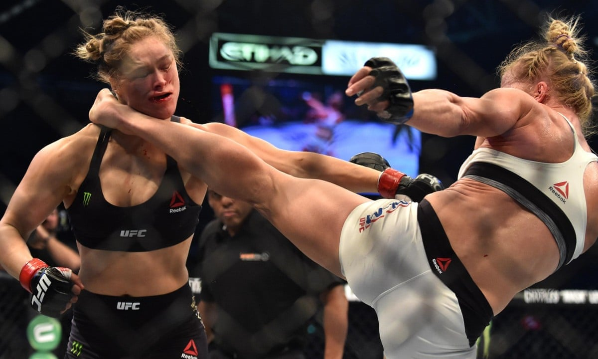 Holly Holm beats Ronda Rousey to become UFC world champion – video | Sport  | The Guardian