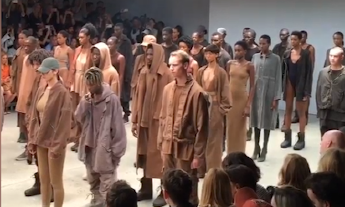 d8be325e8e49c8 Kanye West unveils Yeezy II at New York fashion week – video