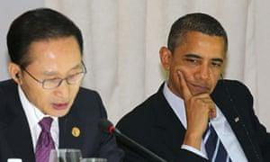 Lee Myung-bak and Barack Obama