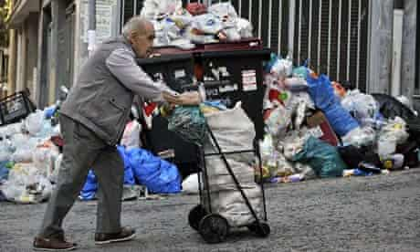 rubbish piles up in Athens streets