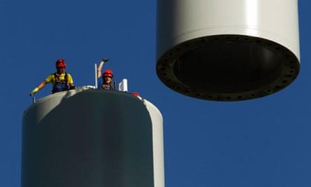 wind turbine assembly in Switzerland