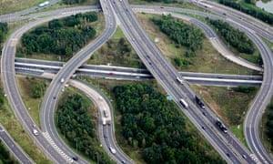 aerial view of motorway junction
