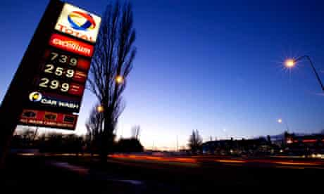 total petrol station, warrington, by night