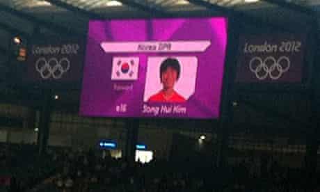 The South Korea flag at North Korea football match