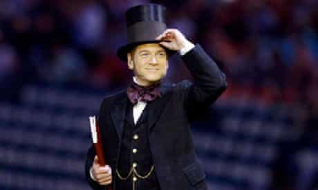 Actor Kenneth Branagh performs in the opening ceremony of the London 2012 Olympic Games