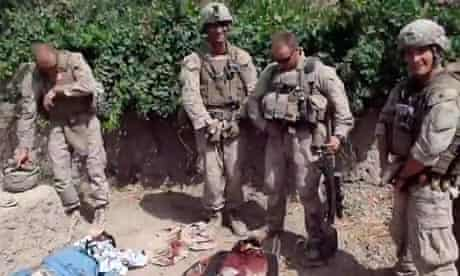 YouTube video showing what is believed to be US Marines urinating on the bodies of dead Taliban