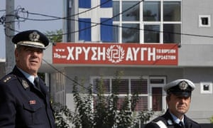 Police outside the local offices of Golden Dawn party, Athens