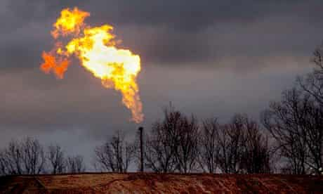 A gas flare burns at a fracking site in rural Pennsylvania