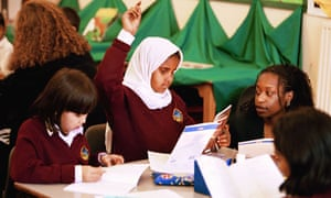 Ethnic minority pupils during an English lesson at a primary school in Southall, London.