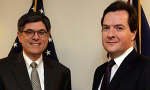 U.S. Treasury Secretary Jack Lew with George Osborne in Washington