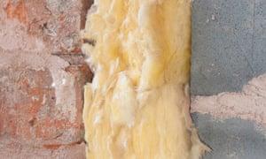 Fibreglass insulation in cavity wall
