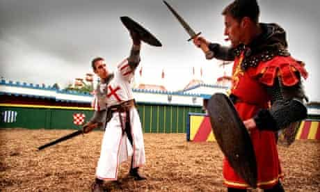 Knights battling at Camelot theme park