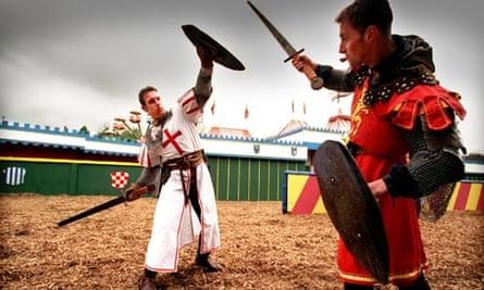 Knights battling at Camelot theme park