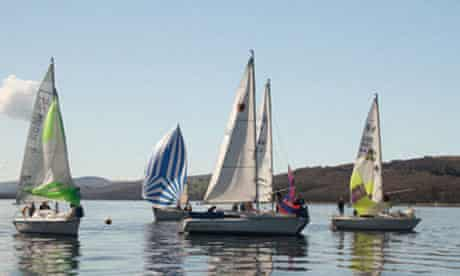 A nautical gathering on Coniston Water, The Lake District, England.