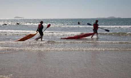 SURF CANOES WHITESANDS BAY ST DAVIDS PEMBROKESHIRE WEST WALES UK