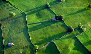 Aerial photo of countryside in Yorkshire England