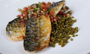 grilled mackerel with spiced lentil and kachumber salad