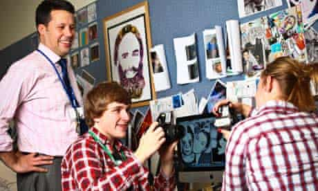 Teacher and two pupils in a creative class at The Chalfonts community college
