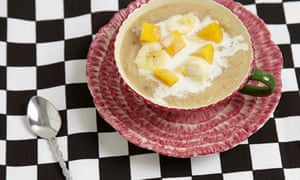Irish oat porridge with banana, mango and cocnut milk