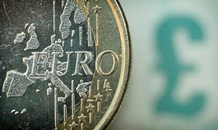 A one euro coin alongside a British pound ensignia