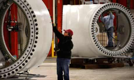 A wind turbine manufacturing facility