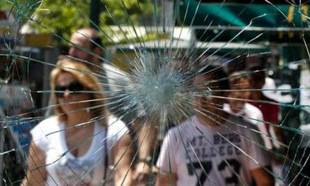 Smashed windows in Athens