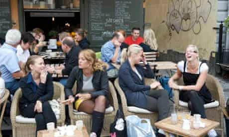 Beautiful Swedish people in a cafe