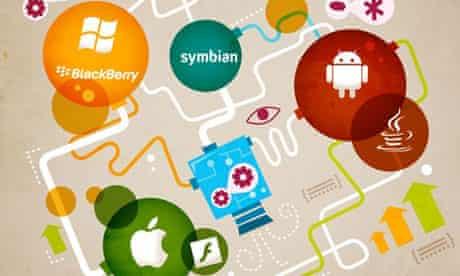 Illustration showing the mobile operating system market