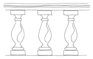 British architecture one: Vase-shaped baluster