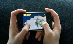 A computer game being played on an Apple iPhone