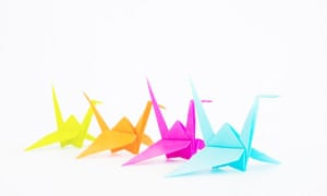 Colorful Paper Origami Cranes in a Row