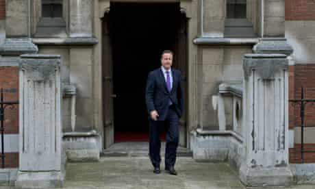 David Cameron leaving Leveson inquiry
