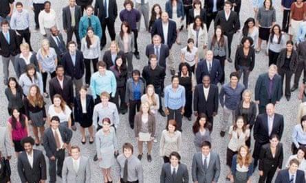 Salesforce: Portrait of business people in crowd