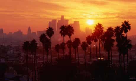USA, California, Los Angeles skyline, sunset