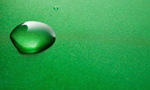 Interbrand: Water Drops on Green Metallic Background