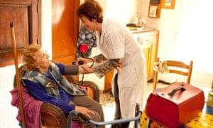 Old person receiving care