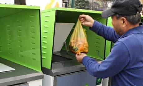 South Korean man using food waste disposal unit