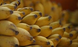 Stack of bananas in supermarket