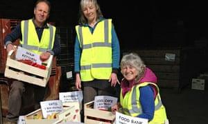 Volunteers at Totnes Food Redistribution - Laurel Ellis (front) and David Markson (left)