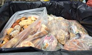 Food waste in plastic bags